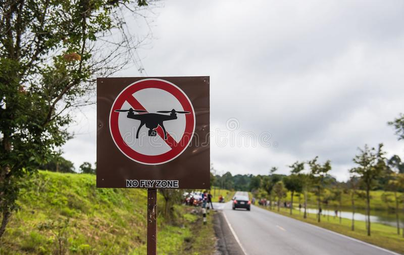 No drones sign, no fly zone in park.  royalty free stock photos