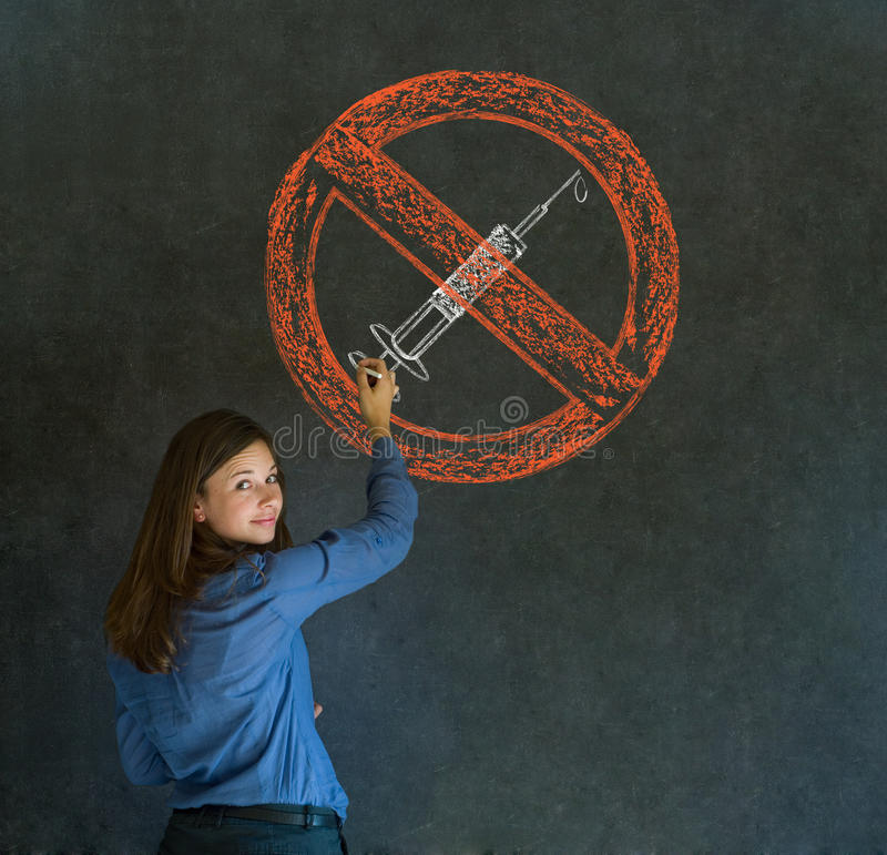 No drugs woman on blackboard background stock photo