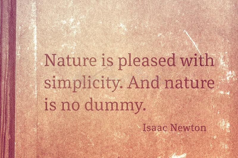 No dummy Newton. Nature is pleased with simplicity. And nature is no dummy - famous English physicist and mathematician Sir Isaac Newton quote printed on vintage stock illustration