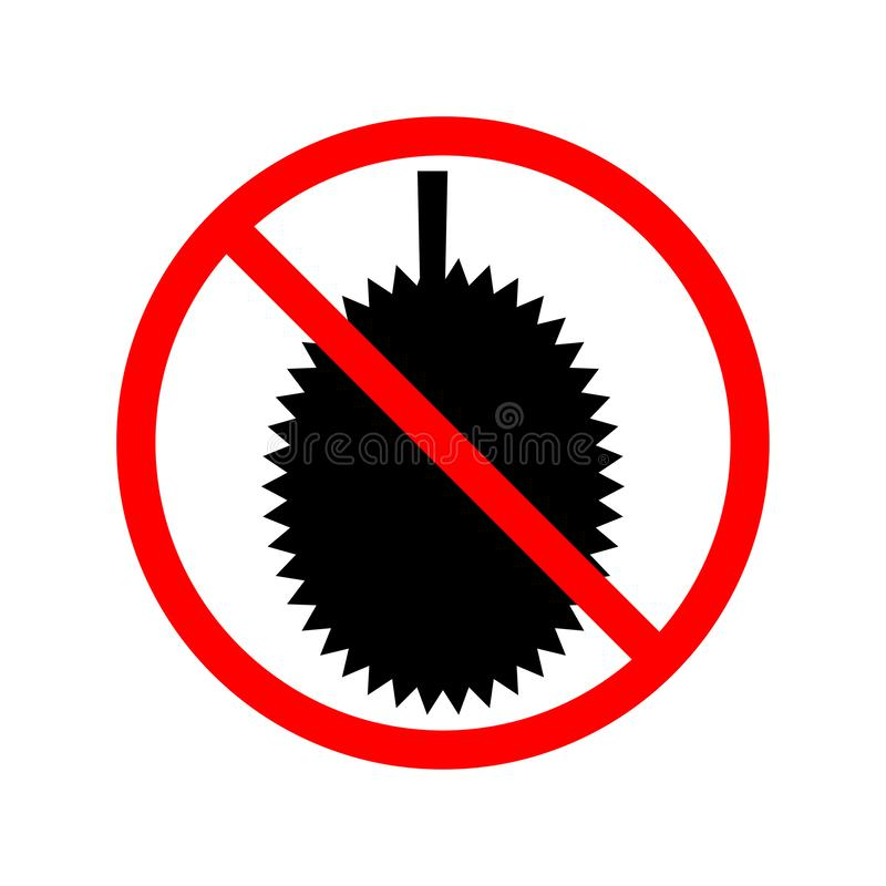 No Durian Allowed prohibition sign. Eps ten royalty free illustration