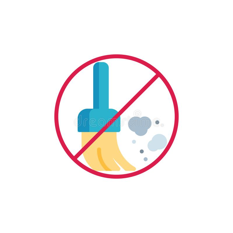 No dust prohibition flat icon vector illustration