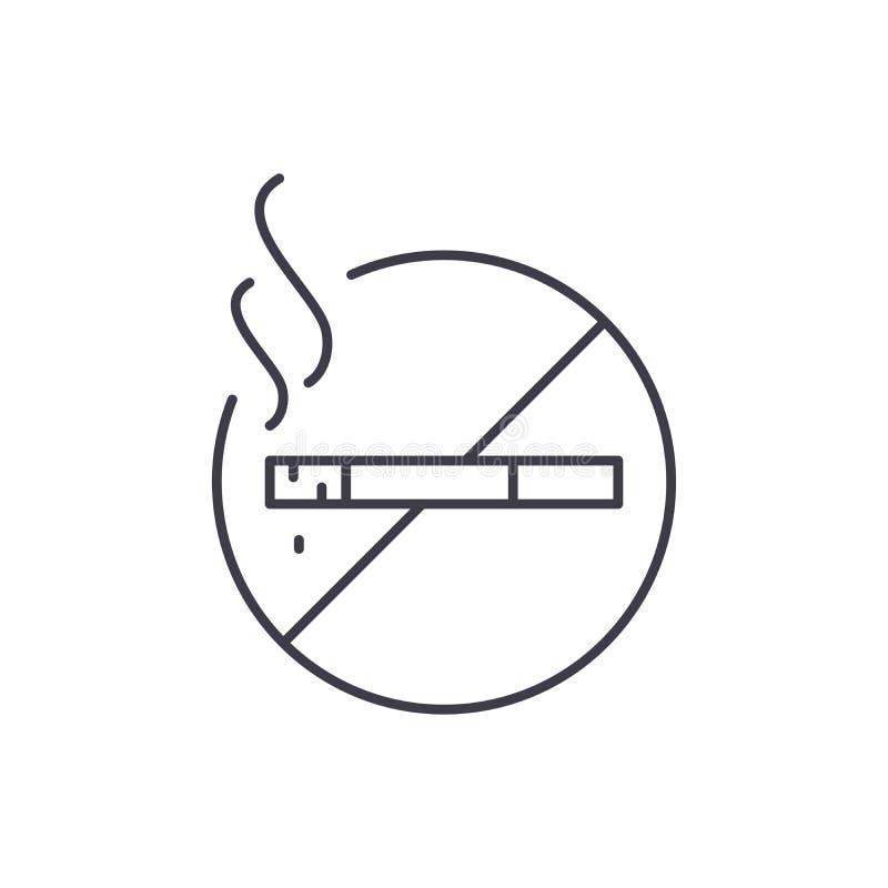 No dymi kreskowego ikony pojęcia No dymi wektorowej liniowej ilustracji, symbol, znak ilustracji