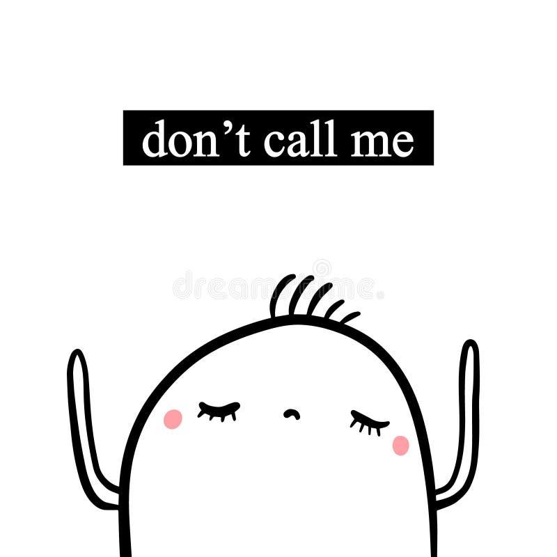 No dzwoni ja ręka rysująca ilustracja z ślicznym marshmallow w kreskówka stylu royalty ilustracja