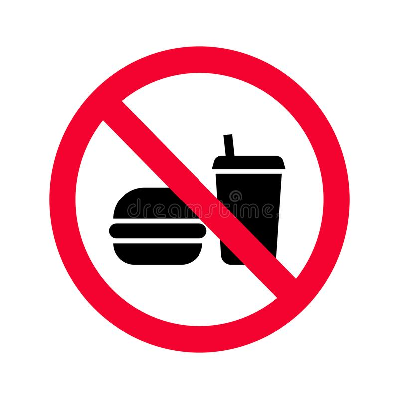 Red prohibition no food or drinks sign. No eating and drinking forbidden sing. stock illustration