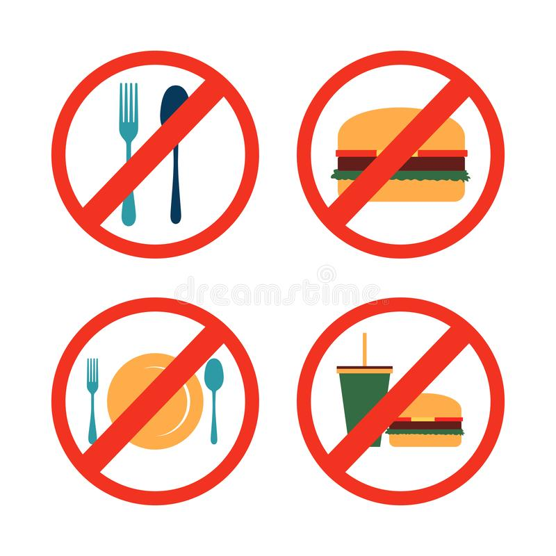 No Eating Drinking Forbidden Icon Symbol Collection stock illustration