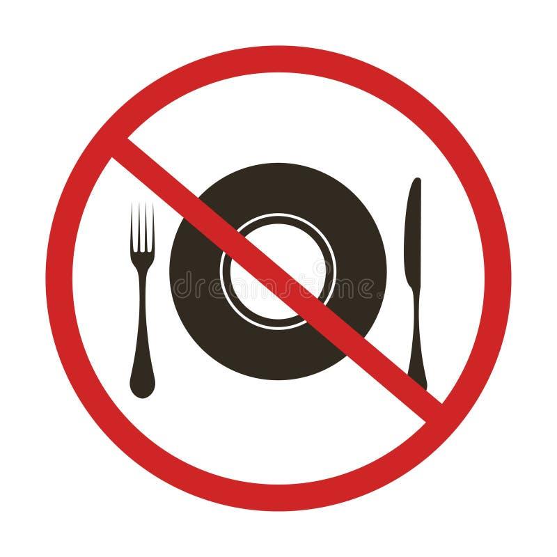 No eating sign. No food or drink. Fork, knife, a plate. Vector illustration stock illustration