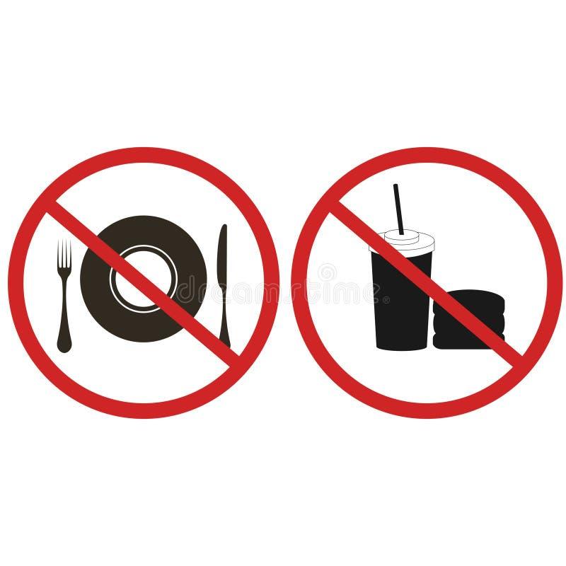 No eating sign. No Food Sign design set vector stock illustration