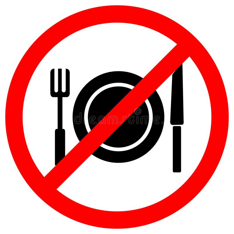 No Eating Symbol Sign Isolate On White Background,Vector Illustration EPS.10. Food, forbidden, prohibited, icon, warning, allowed, stop, drink, ban, not royalty free illustration