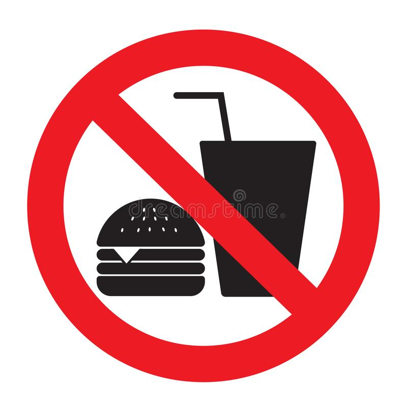 Free No Eating Vector Sign,no Food Or Drink Allowed Vector.No Food Or Drinks Allowed Royalty Free Stock Photo - 157510665
