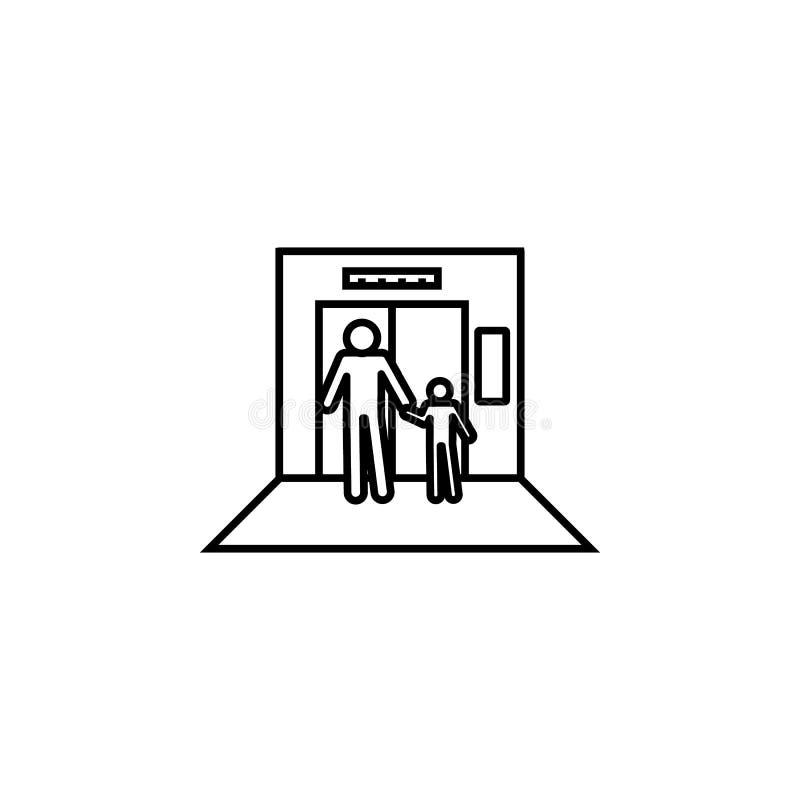 no elevador, homem, ícone do menino Elemento da situação no ícone do elevador Ícone superior do projeto gráfico da qualidade Sina ilustração stock