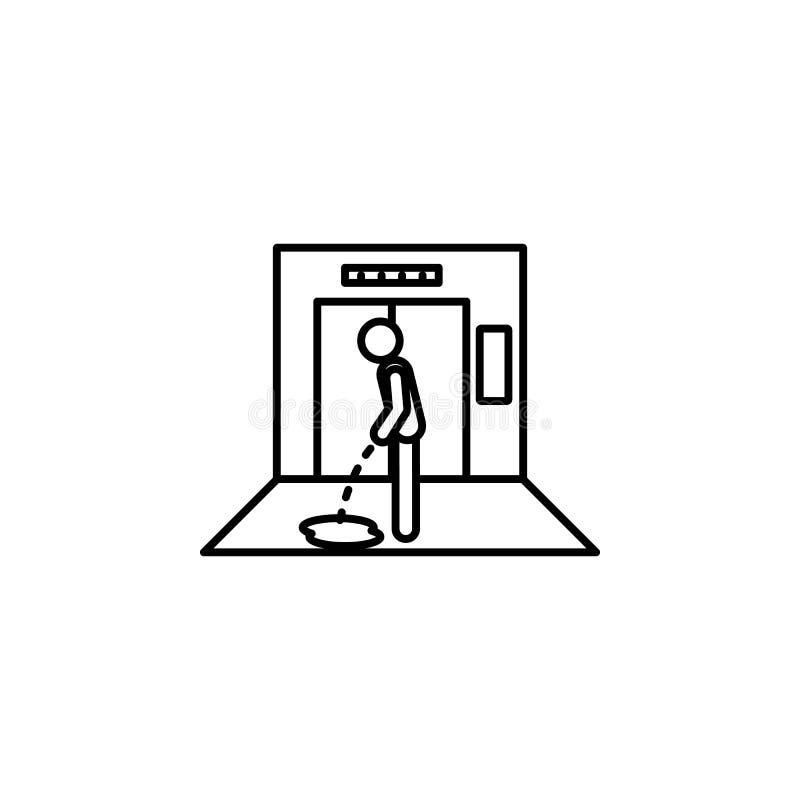 no elevador, o homem, urina ícone Elemento da situação no ícone do elevador Ícone superior do projeto gráfico da qualidade Sinais ilustração royalty free