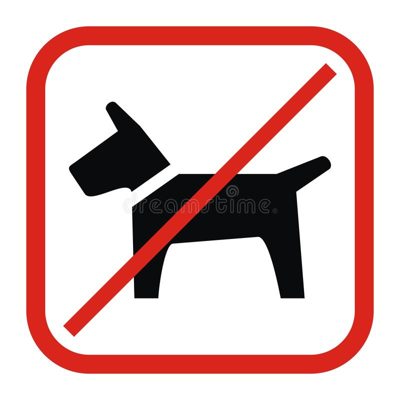 No entry with dogs, vector icon stock illustration