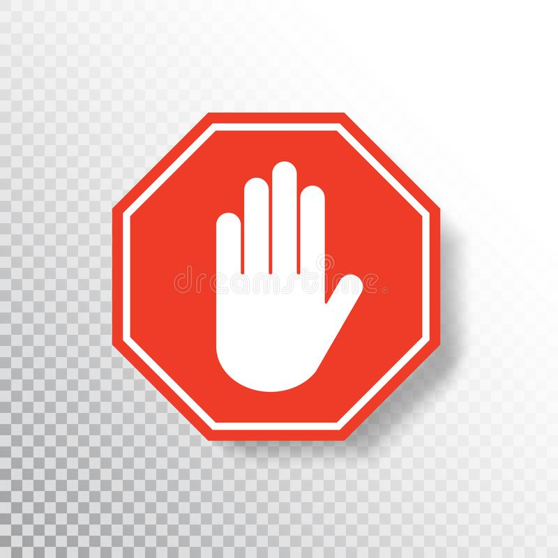 Free No Entry Hand Sign On Transparent Background. Red Stop Sign Icon With Hand Palm. Road Sign. Traffic Regulatory Warning Royalty Free Stock Photo - 145247215