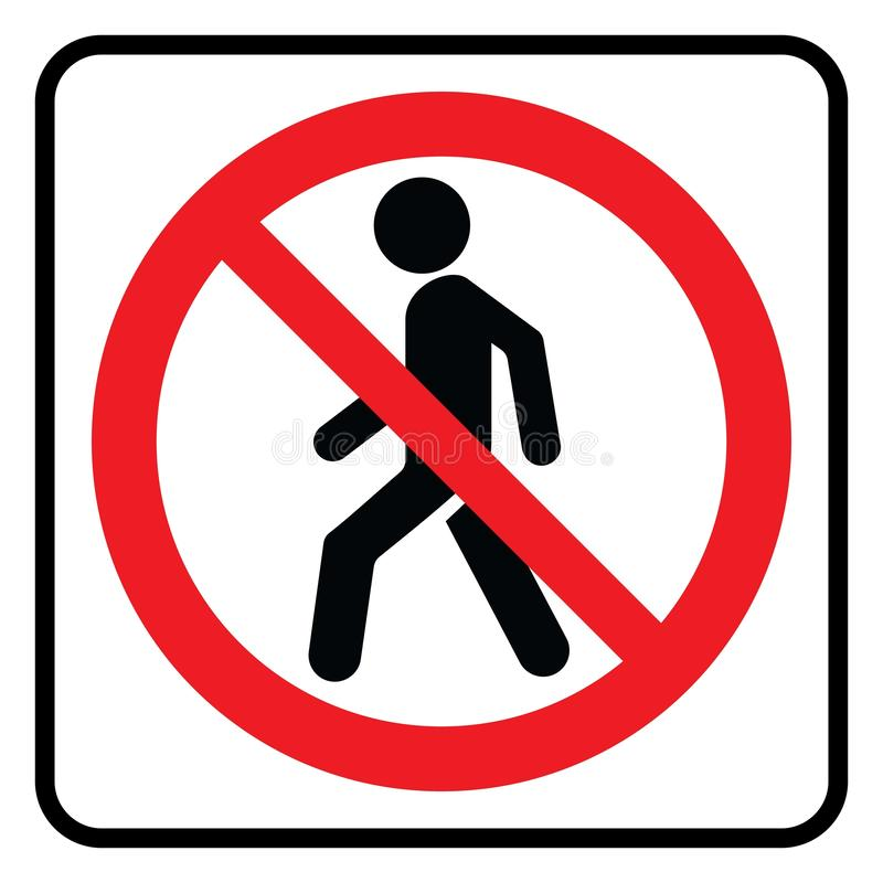 No Entry icon. In white background drawing by illustration - Prohibition sign-Vector royalty free illustration