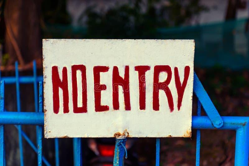 No entry metal signboard access denied. No entry metal signboard on a metal fence access denied stock photos