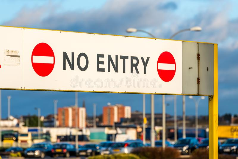 No entry prohibitory sign at parking entrance stock photography