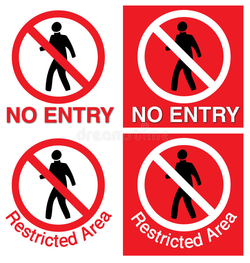 No entry & restricted area. Isolated red signage of no entry and restricted area, vector file vector illustration