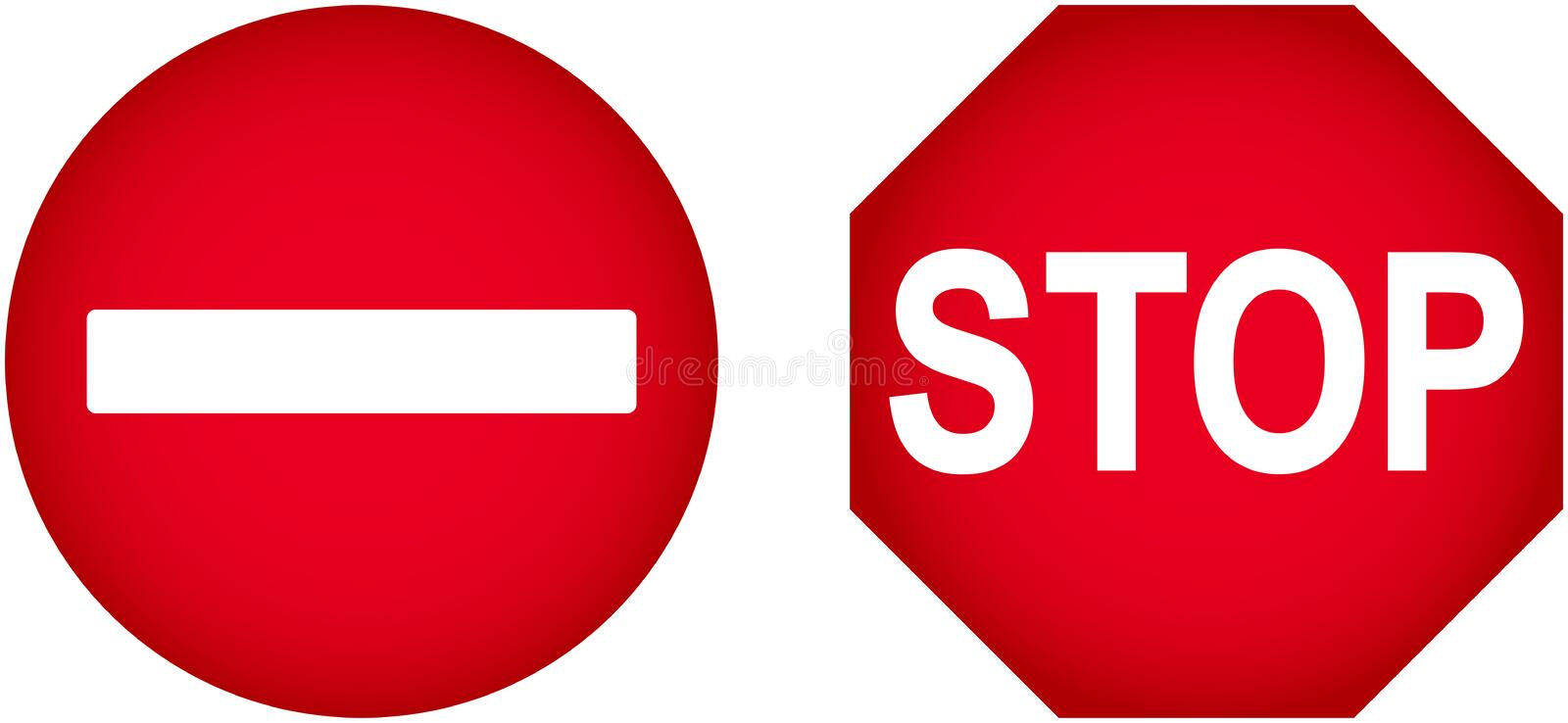 No Entry Sign. Illustration Of No Entry And Stop Traffic Signs Isolated On White vector illustration