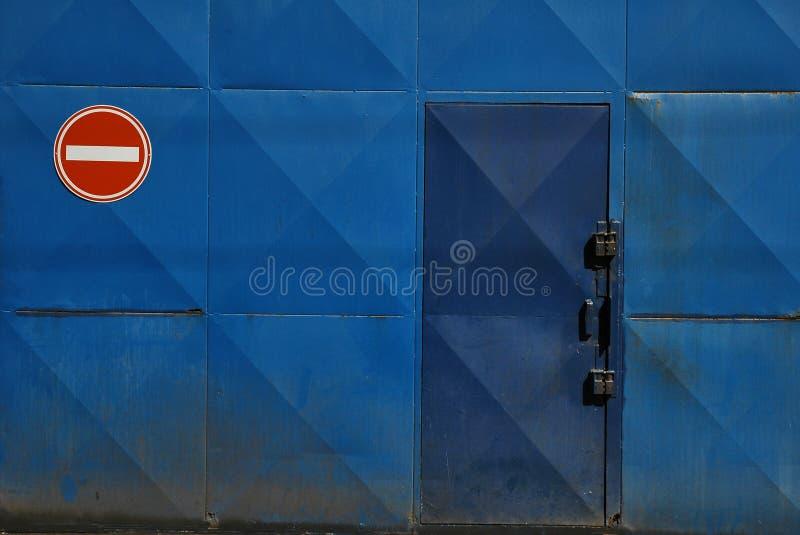 No entry sign by door stock photos