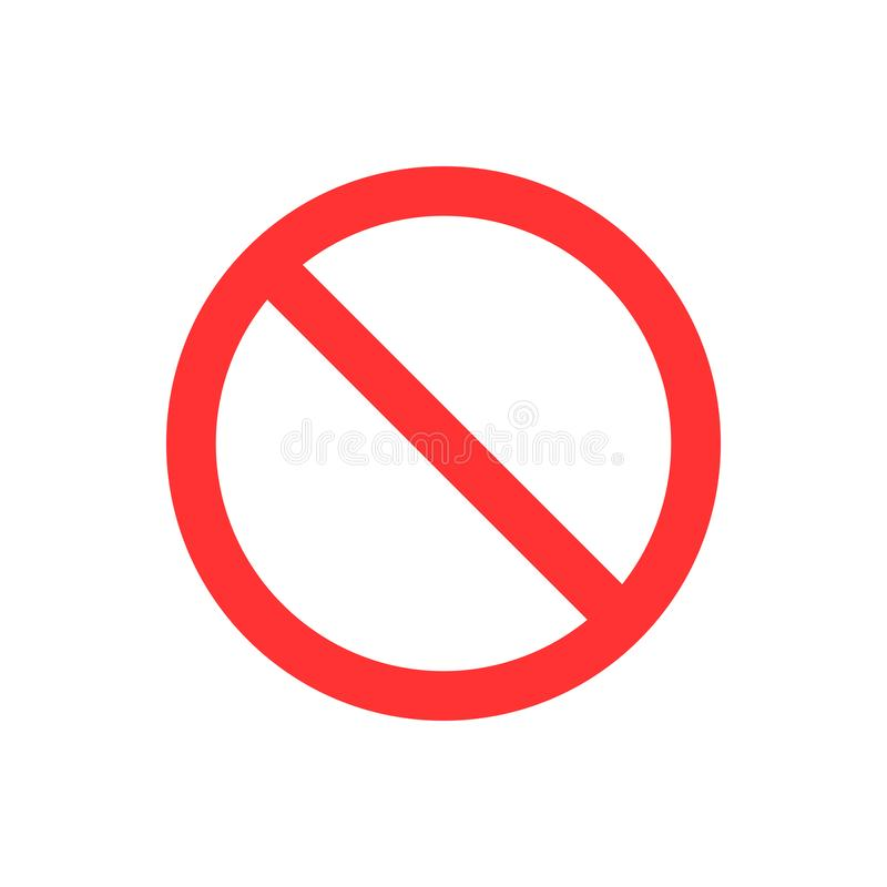 No, no entry, no sign, sign icon. Flat vector illustration. Red circle. No, no entry, no sign, sign icon Flat vector illustration stock illustration