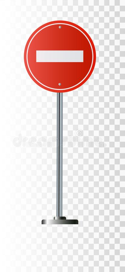 No Entry Sign, road traffic warning and pole, isolated vector illustration