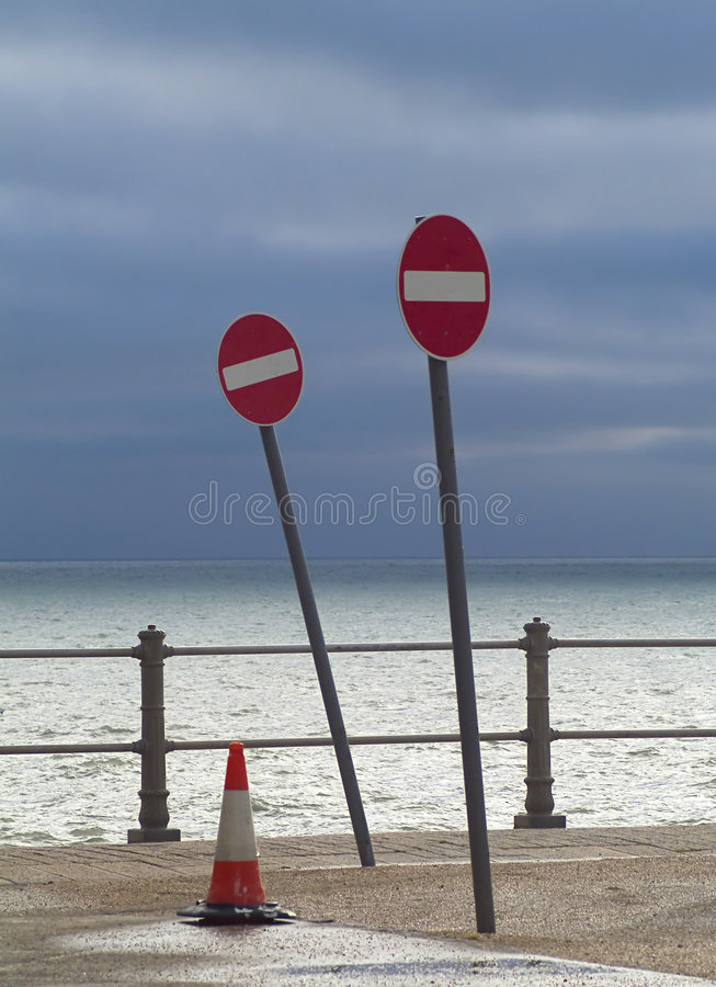 No Entry To Sea Stock Photo