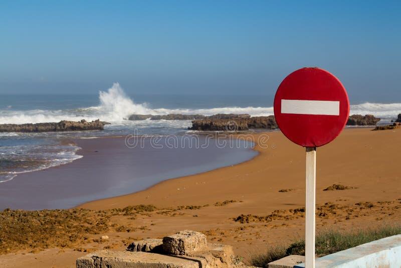 No entry sign and the Atlantic ocean, Morocco royalty free stock photos