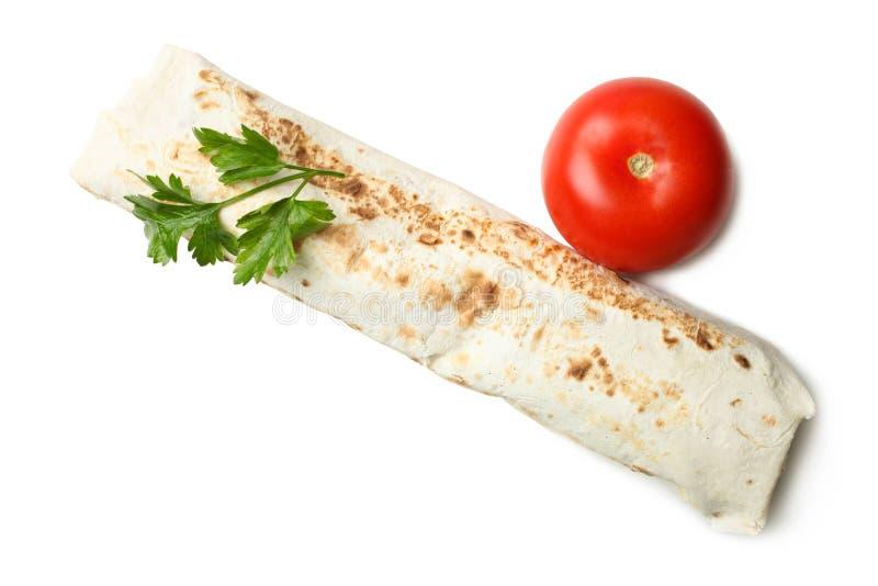 No espeto de Doner, shawarma, tomate orgânico natural e salsa fotografia de stock royalty free