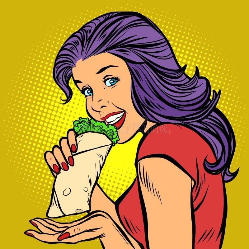 No espeto Doner de Shawarma Mulher com fome que come o fast food ilustração do vetor