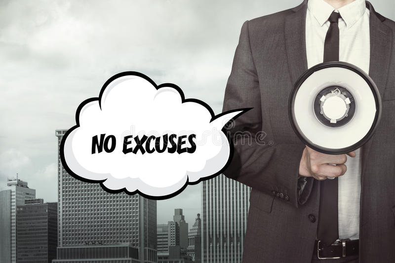 No excuses text on speech bubble with businessman royalty free stock photos