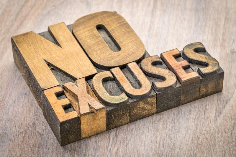 No excuses word abstract in wood type stock photos