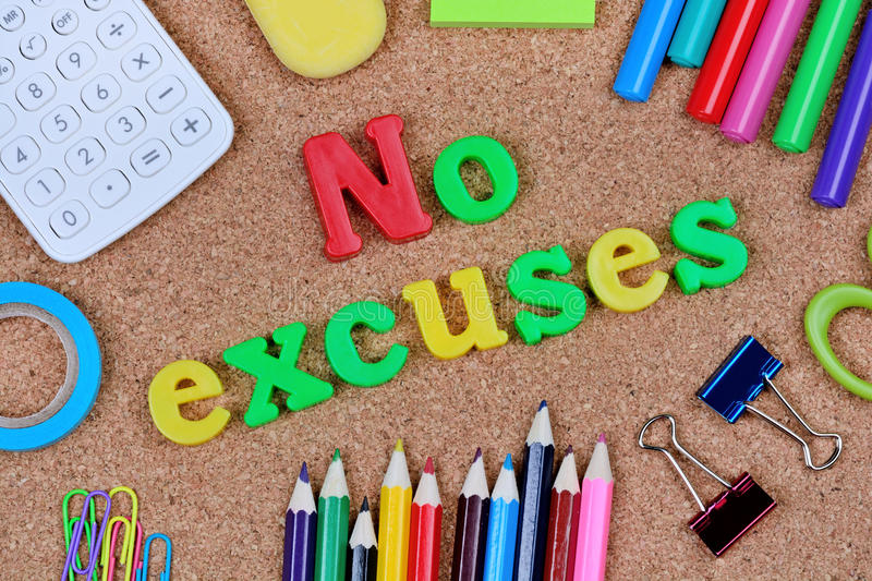 No excuses words on cork background stock photos