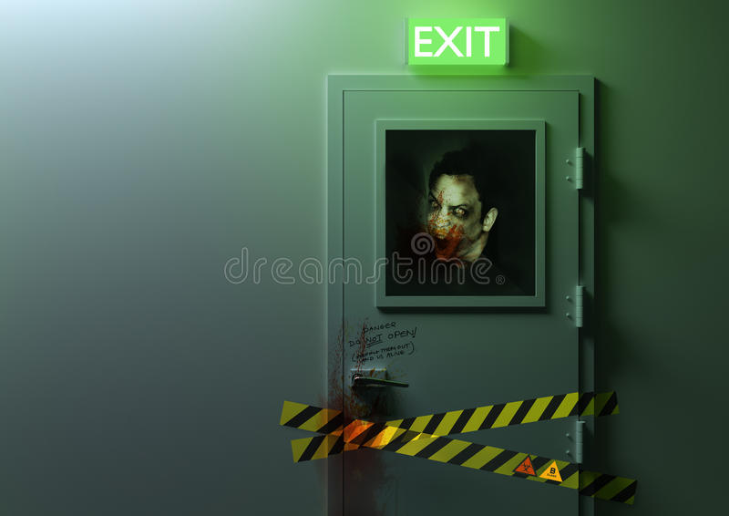 No Exit. A zombie behind a door stock illustration