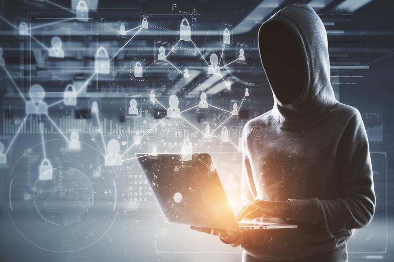 No face hacker with laptop and digital interface. Network security cocncept with no face hacker in hoody with laptop and abstract digital technology interface stock image