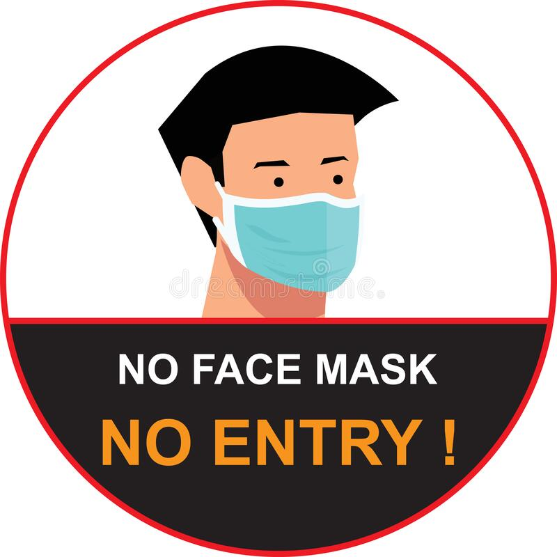 Free No Face Mask, No Entry To Protect And Prevent From Coronavirus Or Covid-19, NO MASK NO ENTRY Warning Sign Vector Royalty Free Stock Photos - 186148718