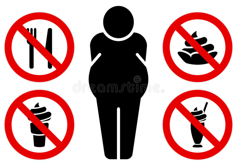 No fat eating signs stock illustration