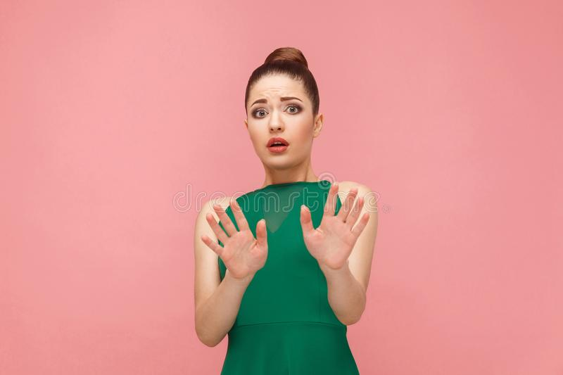 No! Fear reaction of beautiful woman royalty free stock photos