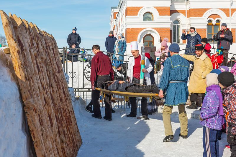 No feriado de Maslenitsa A cidade de Berdsk, Sib?ria ocidental foto de stock