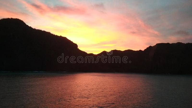 No filters. Caribbean sunrise from offshore. Caribbean sunrise from offshore. No filters royalty free stock photo