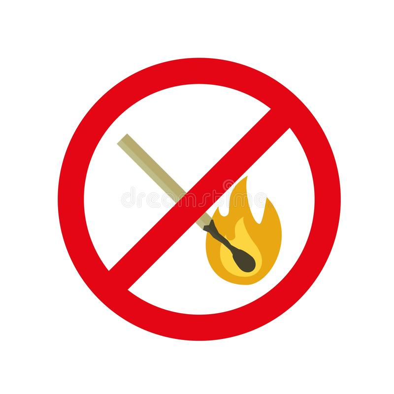 No fire sign icon, flat style royalty free illustration