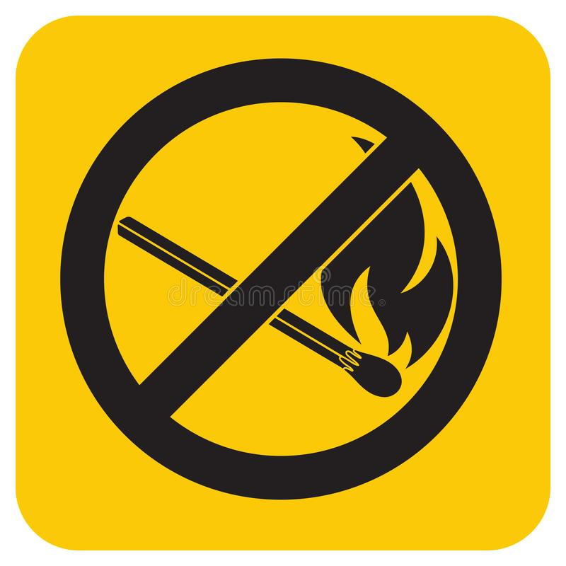 No Fire sign. Prohibition open flame symbol. Vector illustration stock illustration