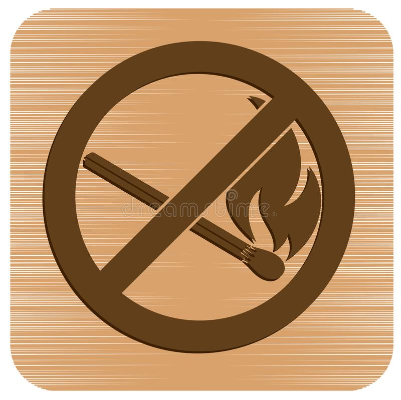 No Fire sign. Prohibition open flame symbol. Vector illustration royalty free illustration