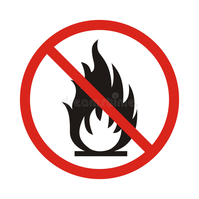 No Fire sign. Prohibition open flame symbol. Red icon on white b stock illustration