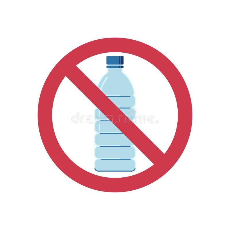 No firme ningún plástico Botellas plásticas prohibidas Icono plano del estilo libre illustration