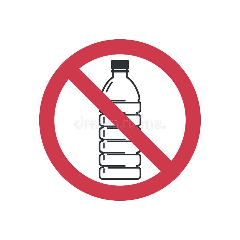 No firme ningún plástico Botellas plásticas prohibidas Icono plano del estilo stock de ilustración