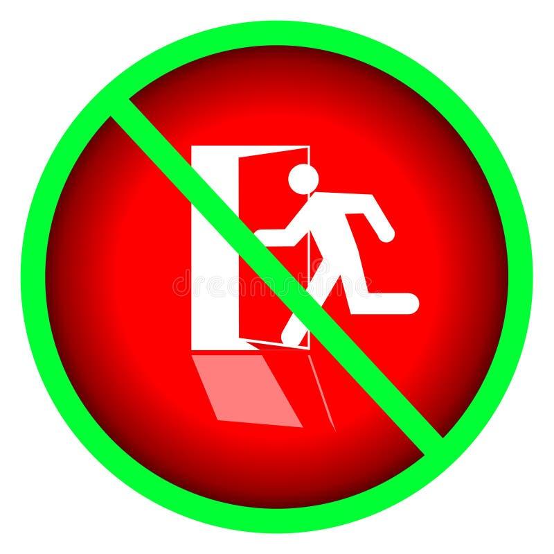 No firme NINGUNA silueta humana de la salida corrida dentro de puerta abierta en fondo rojo ilustración del vector