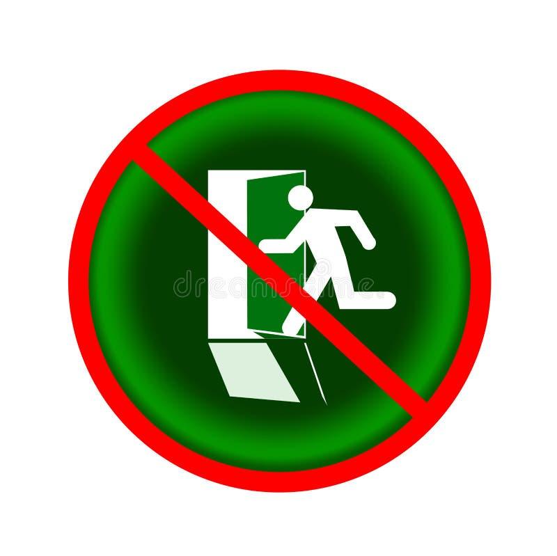 No firme NINGUNA silueta humana de la salida corrida dentro de puerta abierta en fondo verde stock de ilustración