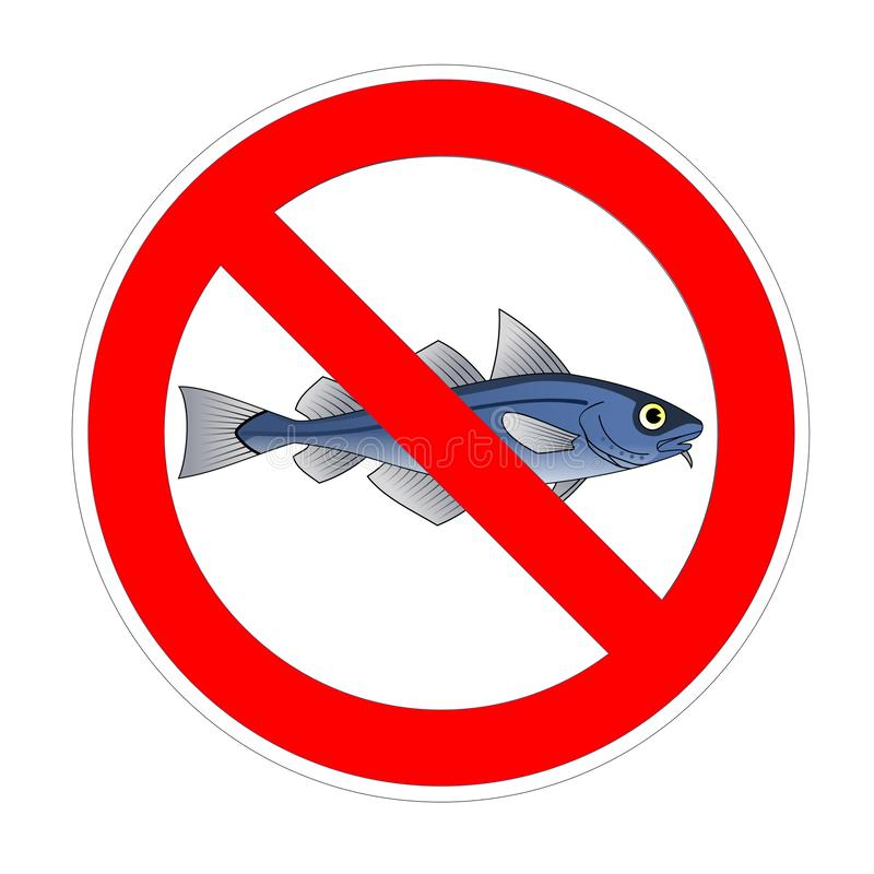 No fish forbidden sign, red prohibition symbol royalty free illustration