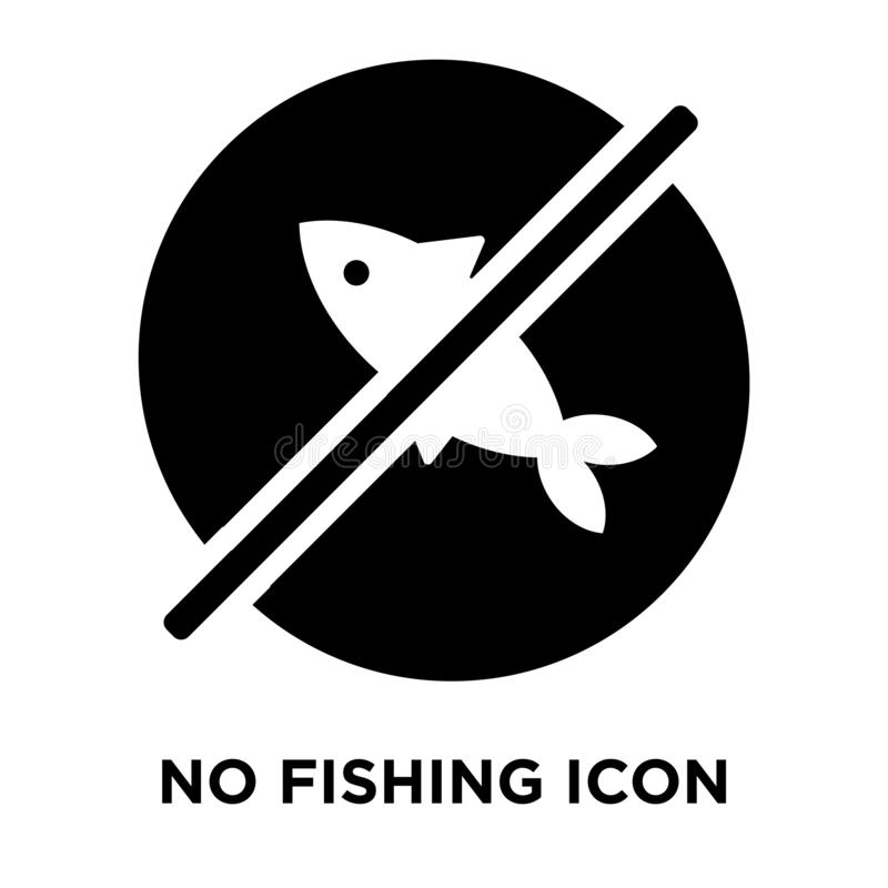 No fishing icon vector isolated on white background, logo concept of No fishing sign on transparent background, black filled stock illustration