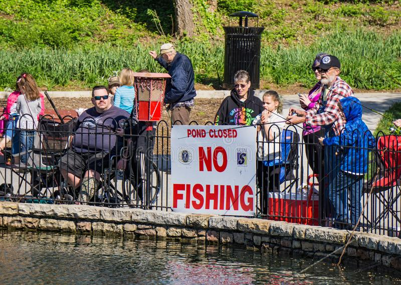 NO FISHING - POND CLOSED stock photo